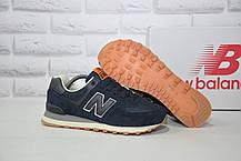 Чоловічі кросівки сині натуральний замш і текстиль в стилі New Balance 574