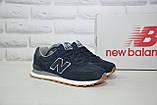 Чоловічі легкі кросівки сині натуральний замш і текстиль в стилі New Balance 574, фото 5