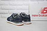 Чоловічі легкі кросівки сині натуральний замш і текстиль в стилі New Balance 574, фото 2