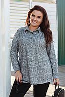 Серая женская туника-рубашка из плотной ткани свободного кроя больших размеров р.54-60. Арт-1057/11