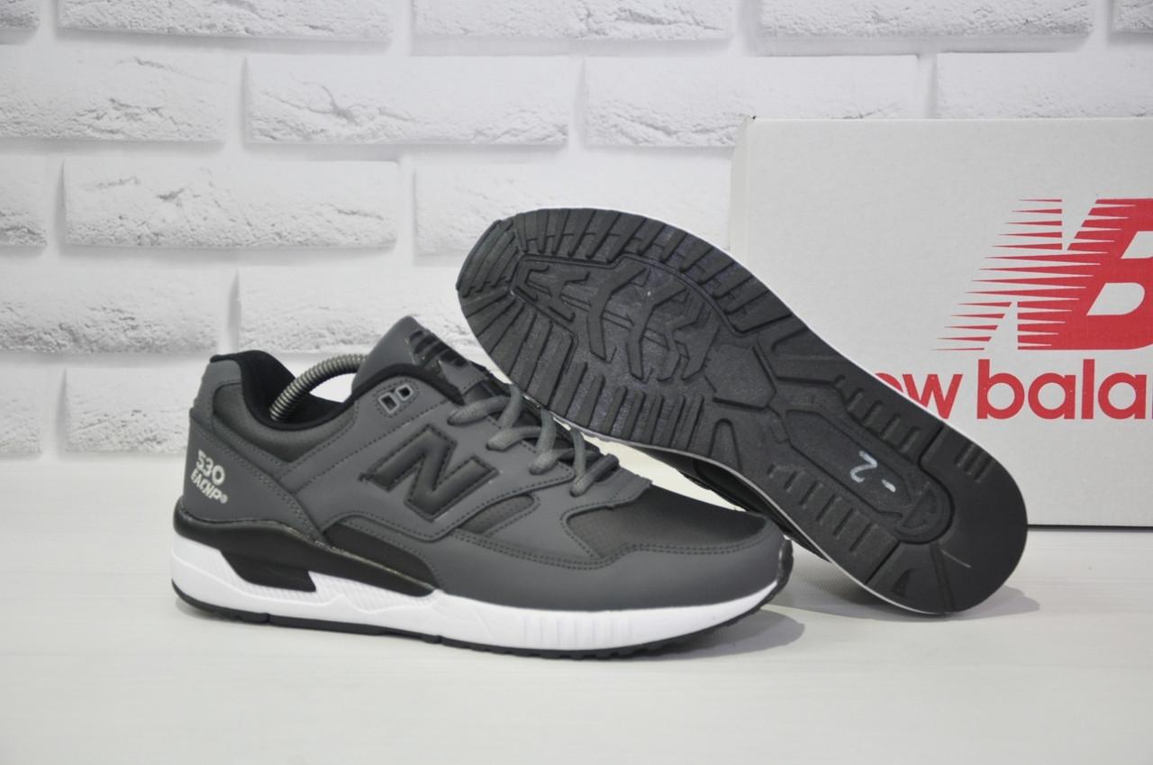 Чоловічі сірі шкіряні кросівки в стилі New Balance 530 EURONCAP