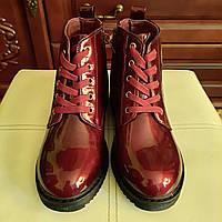 Ботинки детские на девочку Style-baby-Clibee подростковые лаковые бордовые