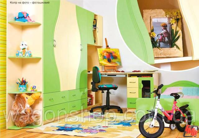 Детская комната Эколь МДФ БМФ фисташка - персик (без кровати)