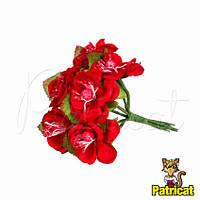 Цветы яблони Красные диаметр 3.5 см 3 шт/уп Декоративный букетик с крупными листиками, фото 1