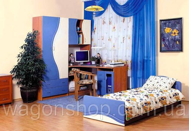 Детская комната Эколь МДФ БМФ синий - персик (без кровати)