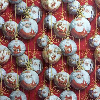 """Салфетка декупажная 25x25 см 28 """"Украшение для елки с Дедом Морозом"""""""