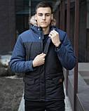 🔥 Пальто куртка ветровка парка зимняя мужская мужской мужское Pobedov Аляска синяя, фото 6