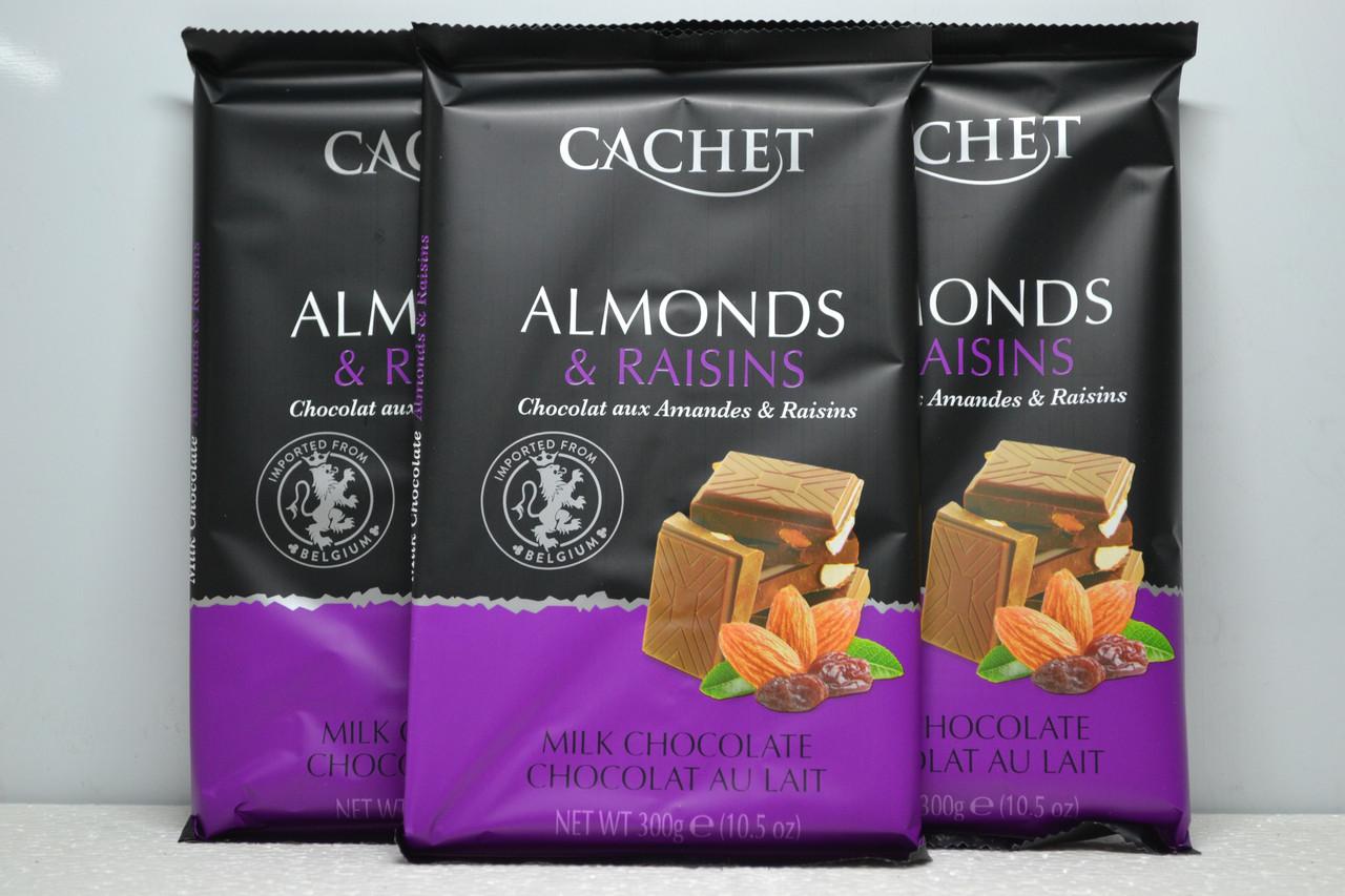 Cachet Шоколад молочний 32% з мигдалем і родзинками (300г.)
