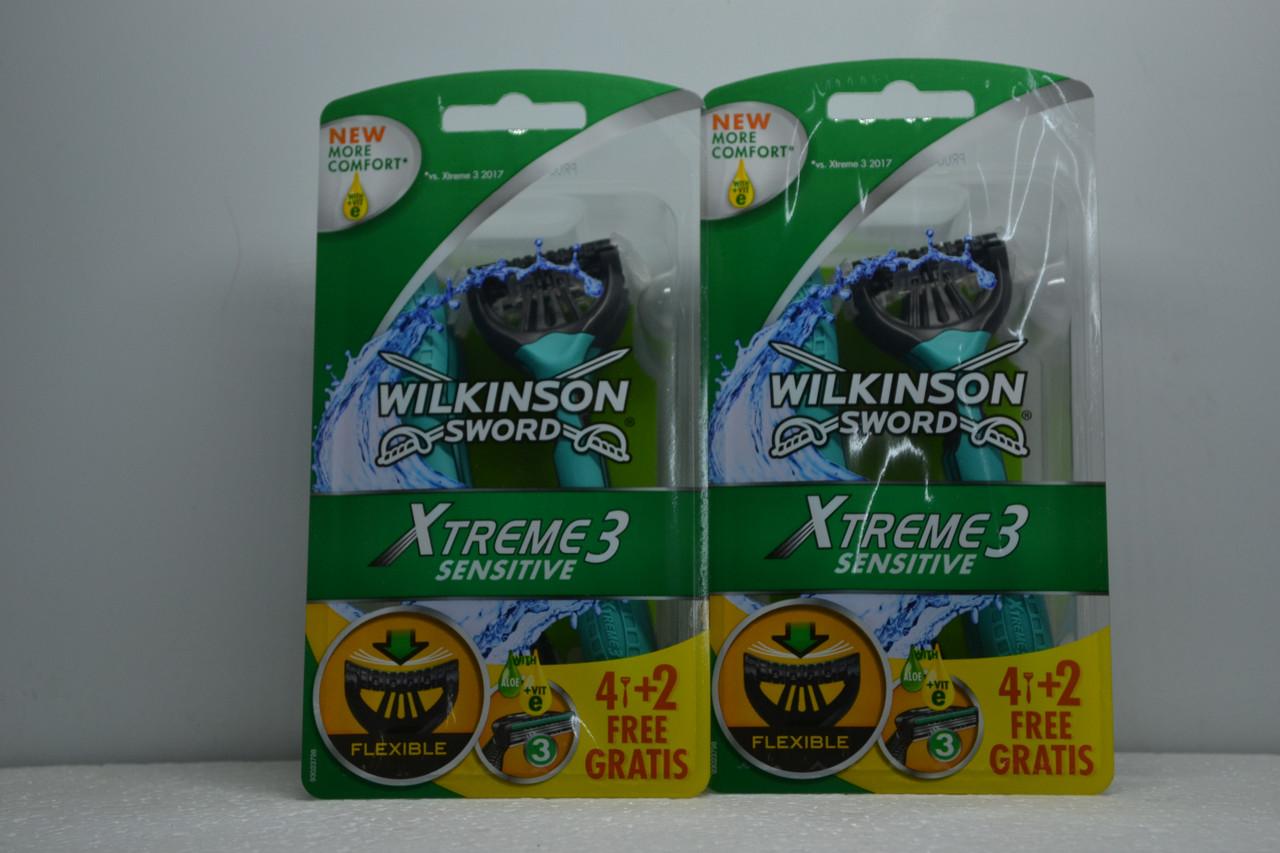 Одноразові станки для гоління Wilkinson Xtreme3 Sensitive (6шт.)