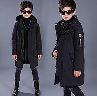 Качественный длинный пуховик зимнее пальто для мальчика