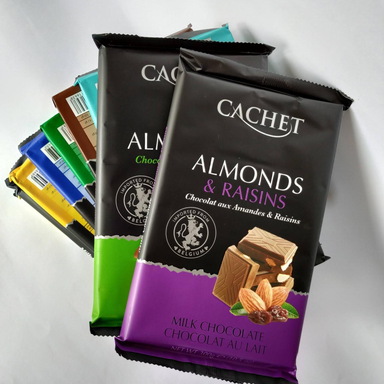Шоколад молочний Cachet Milk Chocolate with Almonds & Raisins, 32% Cocoa, 300 г