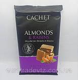 Шоколад молочний Cachet Milk Chocolate with Almonds & Raisins, 32% Cocoa, 300 г, фото 2