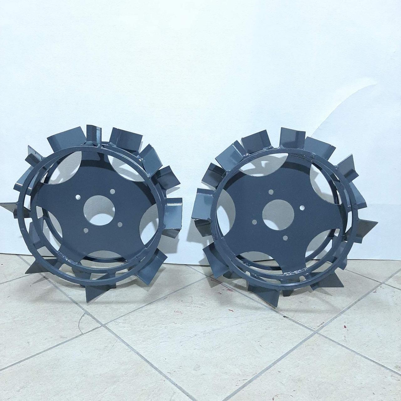 Колеса с грунтозацепами 400/150(Полоса 4*15) МБ с полуосью 32мм (3мм толщ пластины) Булат