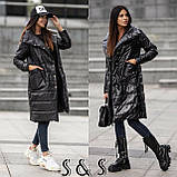 Куртка женская длинная Цвета: Цвет- хаки, пудра,черный, бронза, металик, фото 3