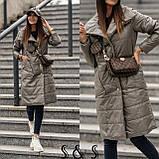 Куртка женская длинная Цвета: Цвет- хаки, пудра,черный, бронза, металик, фото 5
