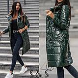 Куртка женская длинная Цвета: Цвет- хаки, пудра,черный, бронза, металик, фото 6