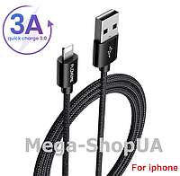 Кабель быстрой зарядки 3A USB - Lightning Floveme Black 1 метр, фото 1