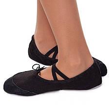 Балетные тапочки Балетки для танцев черные тканевые с нашивками размер 45, фото 2
