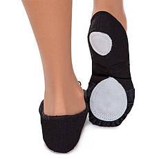 Балетные тапочки Балетки для танцев черные тканевые с нашивками размер 45, фото 3