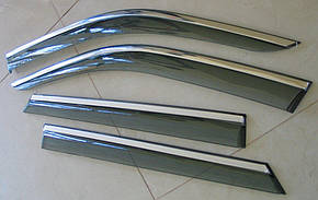 Skoda Fabia 3 ветровики дефлекторы окон ASP с молдингом нержавеющей стали / sunvisors, фото 2