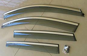 Volkswagen Polo Mk5 вітровики дефлектори вікон ASP з молдингом нержавіючої сталі / sunvisors, фото 2