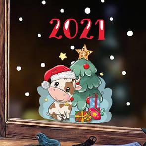 Новорічна наклейка Рік бика (декоративная наклейка Год бык 2021)