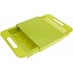 Разделочная доска на мойку с поддоном для мытья и шинковки овощей Supretto 37х24х5 см Green