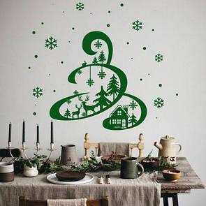 Новорічний декор для вікна та на стіну Казкова ялинка (стикер новогодняя елочка со снежинками)