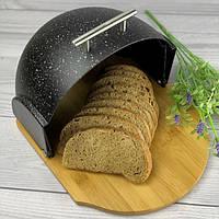 Хлебница bread bean Marble с бамбуковой основой A-plus (черный мрамор)