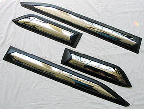 Mitsubishi L200 Triton 2016+ молдинги дверные черные с хром вставкой ABS, фото 2