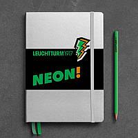 Блокнот Leuchtturm1917 NEON Середній (14,5х21 см) Срібний/Зелений Крапка (361390), фото 1