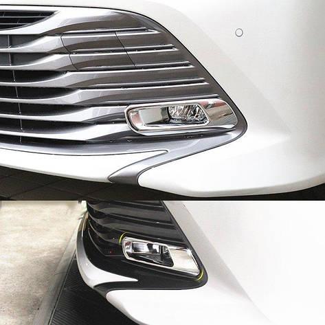 Toyota Camry XV70 2018+ хром накладки на передние противотуманные фары, фото 2