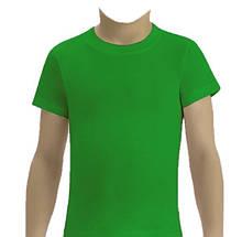 Футболка детская однотонная зеленая, 1-16 лет