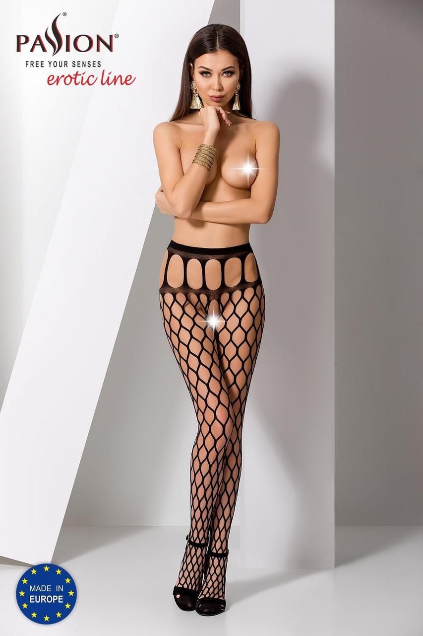 Еротичні колготки-бодистокинг Passion S021 black, в крупну сітку з високим пояском PSS021B код