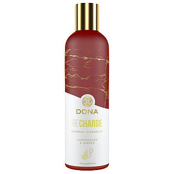 Натуральне масажне масло DONA Recharge - Lemongrass & Gingerl (120 мл) з ефірними маслами SO2628 код