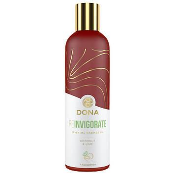 Натуральне масажне масло DONA Reinvigorate - Coconut & Lime (120 мл) з ефірними маслами SO2622 код