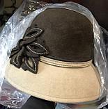 Фетровий двоколірна капелюх з опущеними вниз полями, фото 2