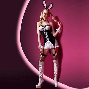 """Эротический костюм зайки """"Милашка Джейн"""" S/M, платье, ушки, чулочки, трусики, браслеты и чокер SO2260"""