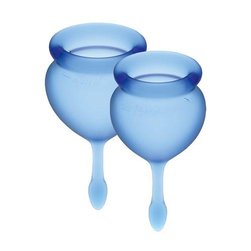 Набір менструальних чаш Satisfyer Feel Good (dark blue), 15мл і 20мл, мішечок для зберігання 18+