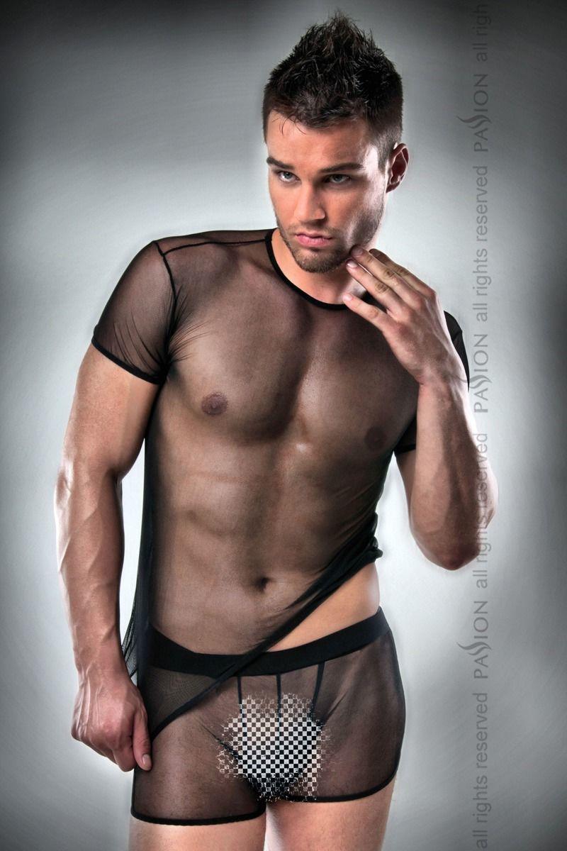 Комплект білизни Passion 017 SET black S/M, повністю прозора футболочка і такі ж шортики PSM0172 код