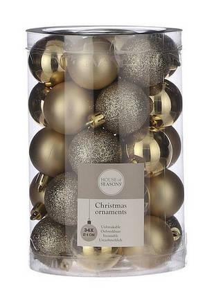"""Елочные шарики 34 шт, 4 см, """"House of Seasons"""" пластик, цвет золотой, фото 2"""