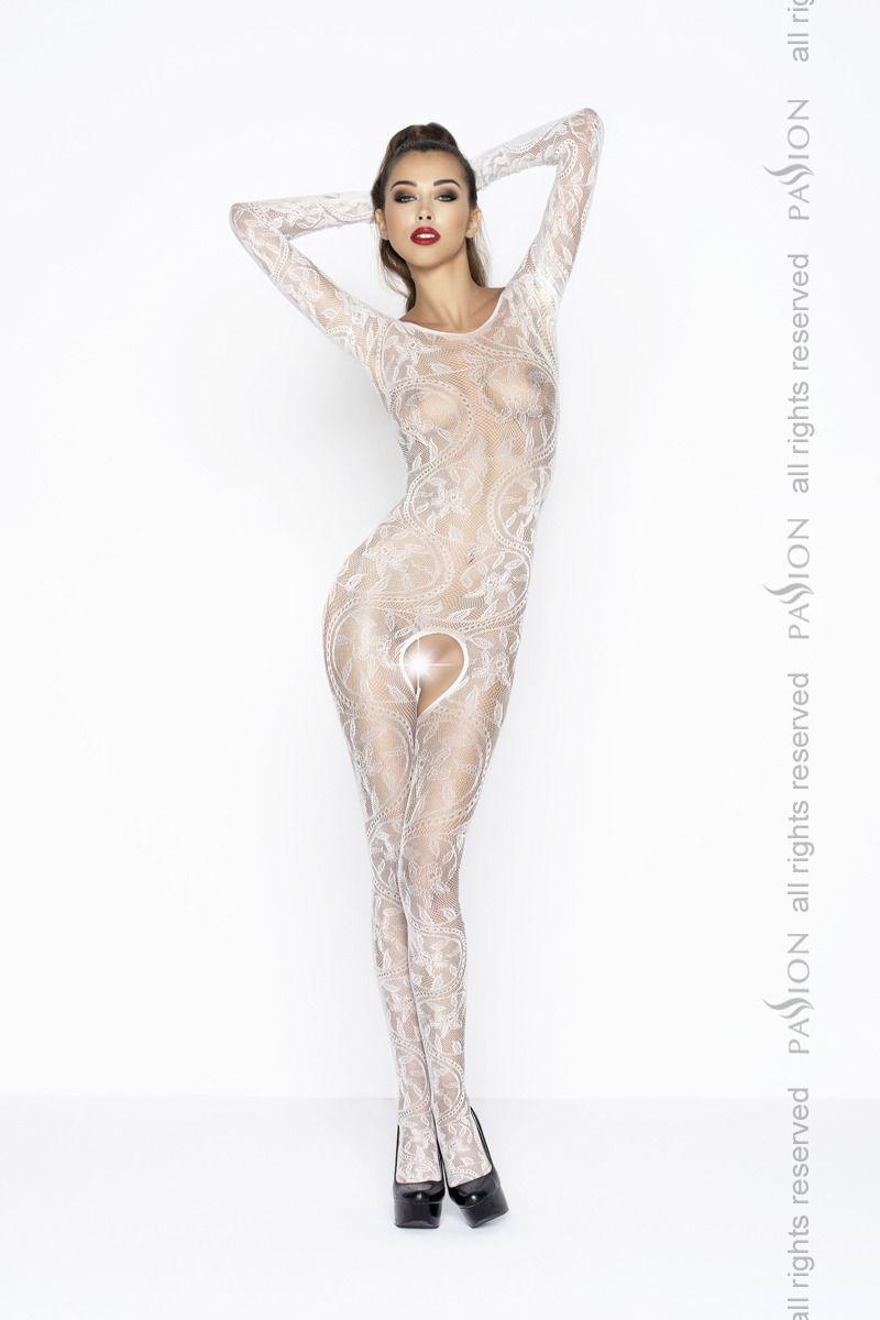 Бодистокинг Passion BS042 white, комбинезон, длинный рукав, закрытое плечо PBS042W код