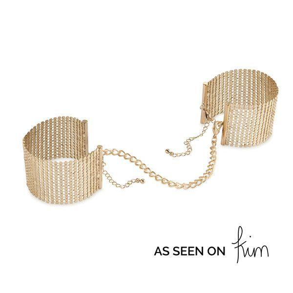 Наручники Bijoux Indiscrets Desir Metallique Handcuffs - Gold, металеві, стильні браслети SO2664