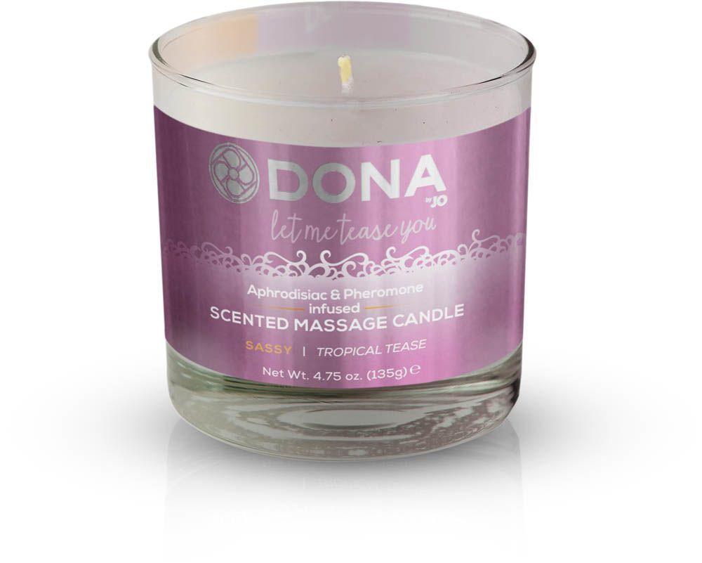 Масажна свічка DONA Scented Massage Candle Tropical Tease SASSY (135 гр) з афродизіаками феромонами SO1533