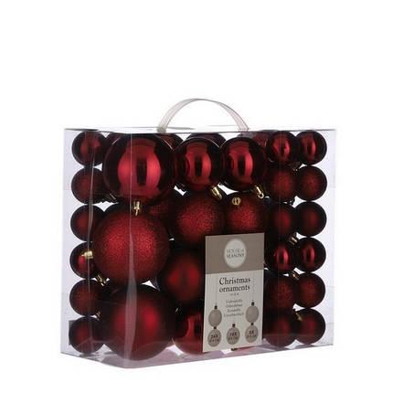 """Елочные шарики 46 шт, """"House of Seasons"""" пластик, цвет красный, фото 2"""