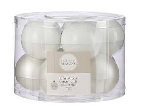"""Елочные шарики 10 шт, 6 см, """"House of Seasons"""" стекло, цвет белый, фото 2"""