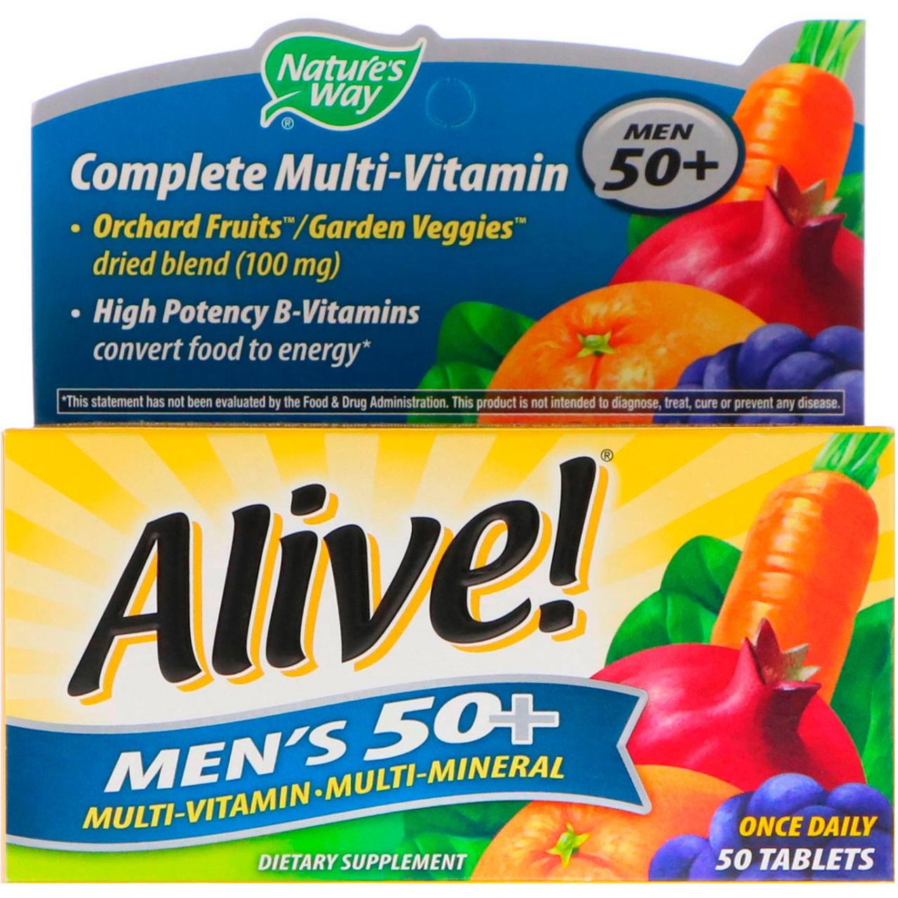 Nature's Way, Alive! Men's 50+ Complete Multi-Vitamin, 50 Tablets