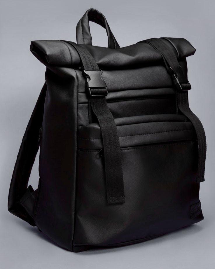 Мужской черный рюкзак ролл матовая эко кожа (качественный кожзам) городской, повседневный роллтоп