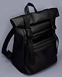 Мужской черный рюкзак ролл матовая эко кожа (качественный кожзам) городской, повседневный роллтоп, фото 2