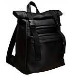 Мужской черный рюкзак ролл матовая эко кожа (качественный кожзам) городской, повседневный роллтоп, фото 9